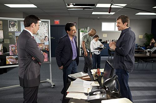 """Criminal Minds """"The Stranger"""" -- Series stars Thomas Gibson (far left) and Joe Mantegna (second from left)joke around behind the scenes with Indianapolis Colts star Dallas Clark (far right)"""