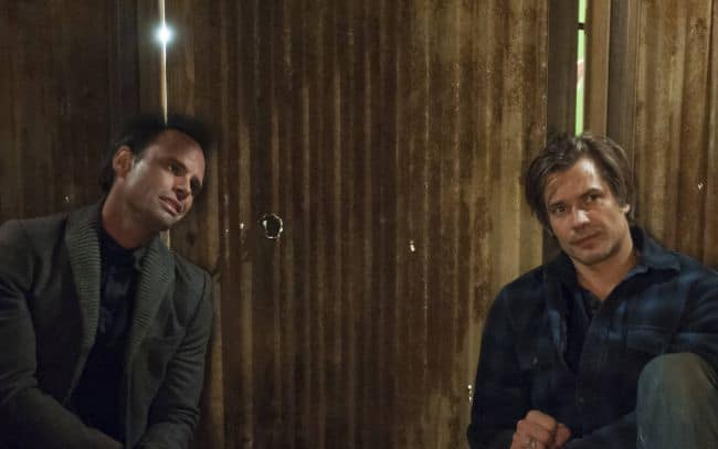 Walton Goggins as Boyd Crowder, Timothy Olyphant as Deputy U.S. Marshal Raylen Givens Justified