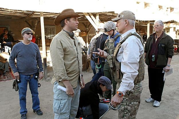 Series star Michael Weatherly (left) directed the episode. Also Pictured: Mark Harmon (right) and Sean Murray (center)