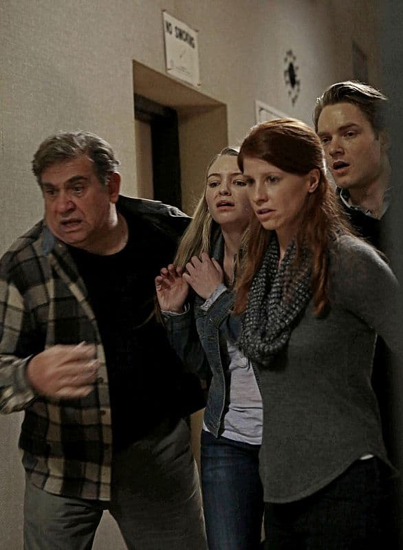 Reese and Finch try to identify a killer among a group of local residents (l-r: Dan Lauria, Hayley Treider, Mandy Siegfried and Timothy Sekk