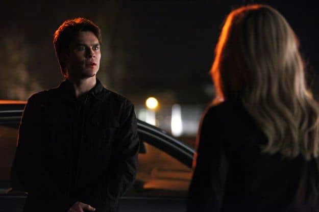 Ian Somerhalder as Damon and Claire Holt as Rebekah