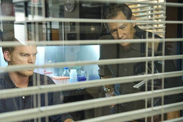 James Remar as Harry Morgan and Michael C. Hall as Dexter Morgan in Dexter (Season 8, episode 9)