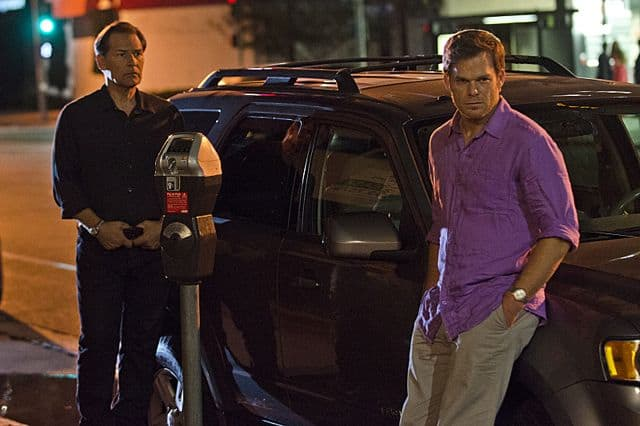 James Remar as Harry Morgan and Michael C. Hall as Dexter Morgan in Dexter