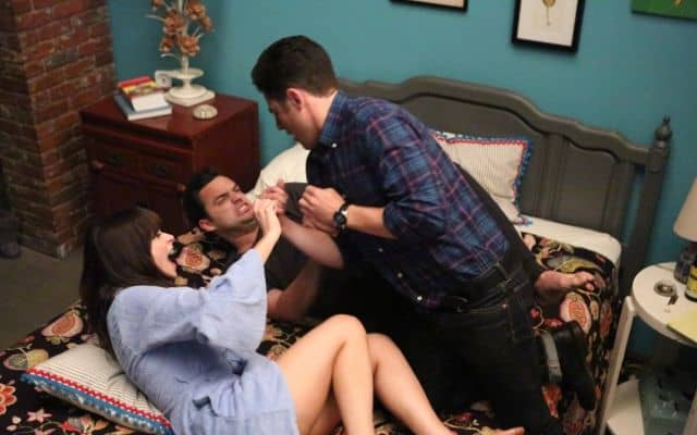 NEW GIRL: Schmidt (Max Greenfield, R) tries to destroy Jess (Zooey Deschanel, L) and Nick's (Jake Johnson, C) relationship
