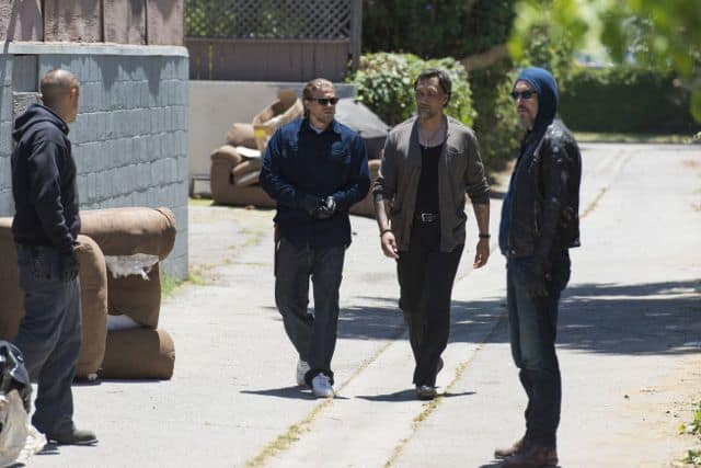 Theo Rossi as Juan Carlos 'Juice' Ortiz, Charlie Hunnam as Jackson 'Jax' Teller, Jimmy Smits as Nero Padilla, Tommy Flanagan as Filip 'Chibs' Telford  Sons Of Anarchy