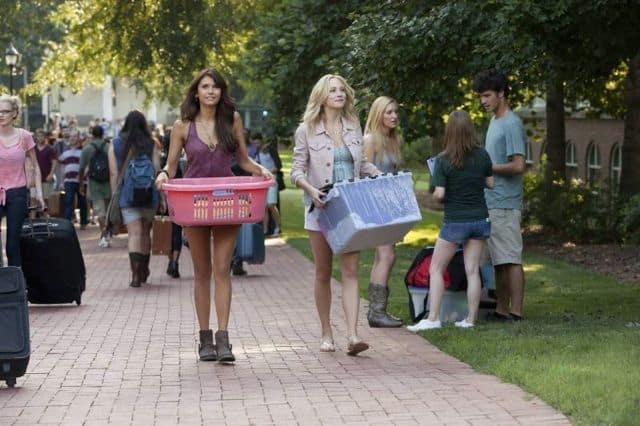 Nina Dobrev as Elena and Candice Accola as Caroline The Vampire Diaries