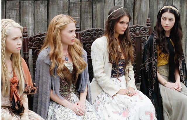 Jenessa Grant as Aylee, Celina Sinden as Greer, Caitlin Stasey as Kenna, and Adelaide Kane as Mary, Queen of Scots Reign Hearts and Minds