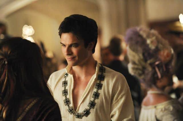 Nina Dobrev as Elena and Ian Somerhalder as Damon