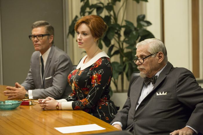 Mad Men 7x03Harry Hamlin as Jim Cutler, Christina Hendricks as Joan Harris and Robert Morse as Bertram Cooper
