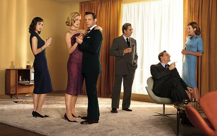 Lizzy Caplan as Virginia Johnson, Caitlin Fitzgerald as Libby Masters, Michael Sheen as Dr. William Masters, Beau Bridges as Barton Skully, Teddy Sears as Dr. Austin Langham and Allison Janney as Margaret Scully in Masters of Sex (season 2)