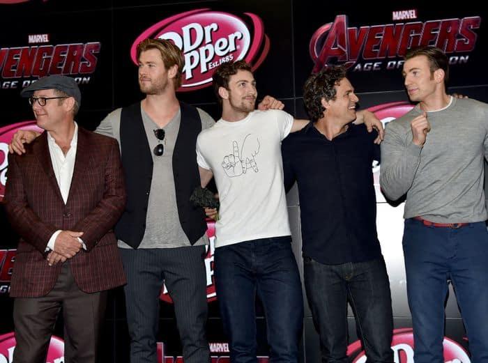 "James Spader, Chris Hemsworth, Aaron Taylor-Johnson, Mark Ruffalo, Chris Evan Marvel's ""Avengers: Age Of Ultron"" Booth Signing During Comic-Con International 2014"
