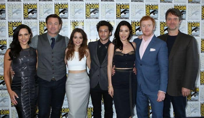 """Defiance Press Room/Panel"" -- Pictured: (l-r) Julie Benz, Grant Bowler, Stephanie Leonidas, Jesse Rath, Jaime Murray, Tony Curran, and Executive Producer Kevin Murphy"