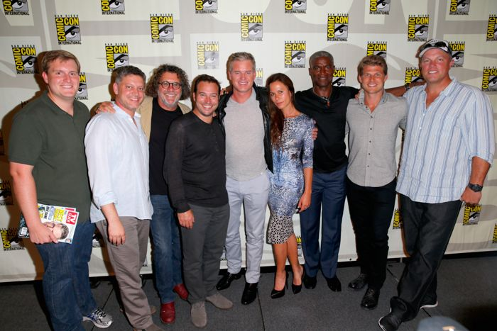 "actors Eric Dane, Rhona Mitra, Charles Parnell, Travis Van Winkle and Adam Baldwin attend TNT's The Last Ship"" panel during Comic-Con International: San Diego 2014"