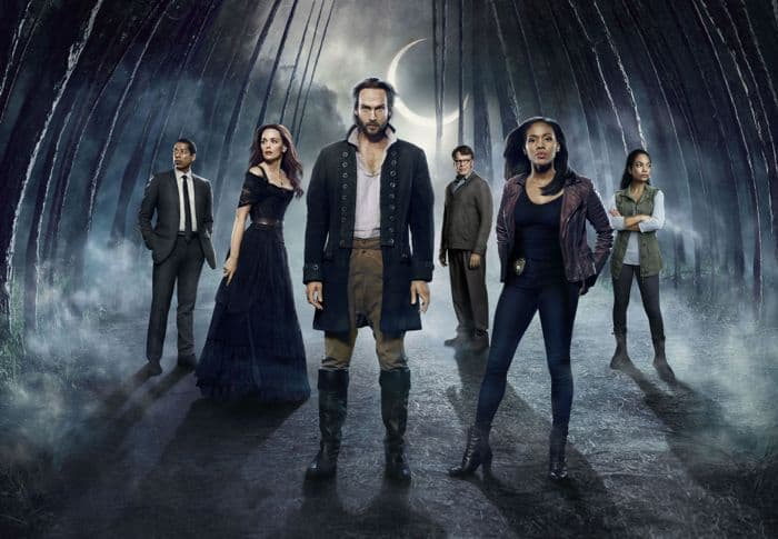 SLEEPY HOLLOW: Cast L-R: Orlando Jones, Katia Winter, Tom Mison, John Noble, Nicole Beharie and Lyndie Greenwood