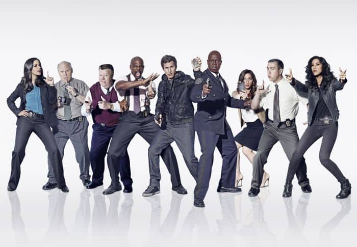 BROOKLYN NINE NINE Season 2 Cast Melissa Fumero, Dirk Blocker, Joel McKinnon Miller, Terry Crews, Andy Samberg, Andre Braugher, Chelsea Peretti, Joe Lo Truglio and Stephanie Beatriz