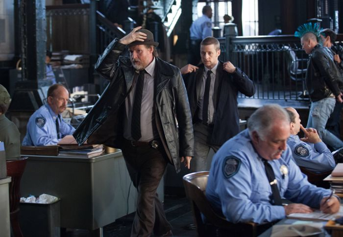 GOTHAM: Detectives Harvey Bullock (Donal Logue, L) and James Gordon (Ben McKenzie, R) leave the GCPD precinct