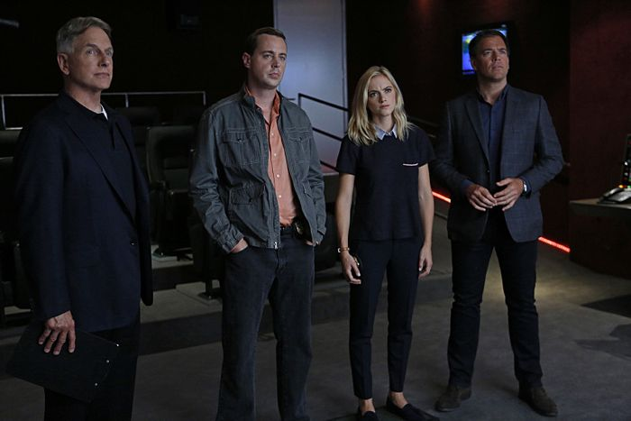 Mark Harmon, Sean Murray, Emily Wickersham and Michael Weatherly NCIS Kill the Messenger