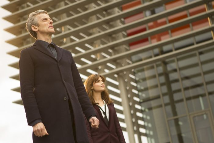 Doctor Who, Season 8, Episode 5, the Doctor (Peter Capaldi) and Clara (Jenna Coleman)