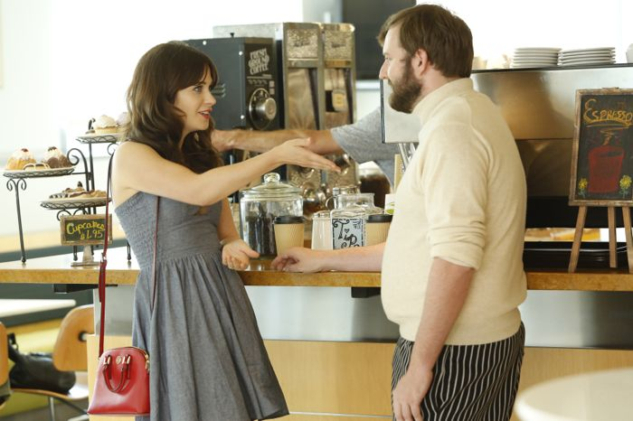 NEW GIRL: Jess (Zooey Deschanel, L) tries her hand at dating via mobile apps when she meets Michael (guest star Matteo Borghese, R)