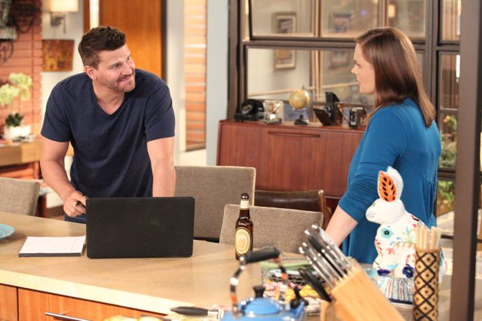 "Bones Brennan (Emily Deschanel, R) welcomes Booth (David Boreanaz, L) home in the ""The Conspiracy in the Corpse"""
