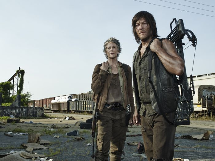 Melissa McBride as Carol Peletier and Norman Reedus as Daryl Dixon The Walking Dead Season 5 Gallery
