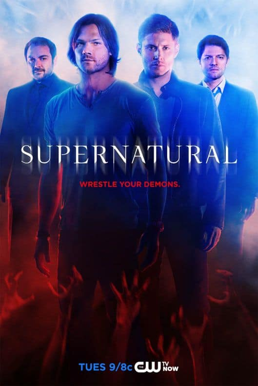 SUPERNATURAL Season 10 Poster Promotional Art Mark Sheppard, Jared Padalecki, Jensen Ackles, Misha Collins