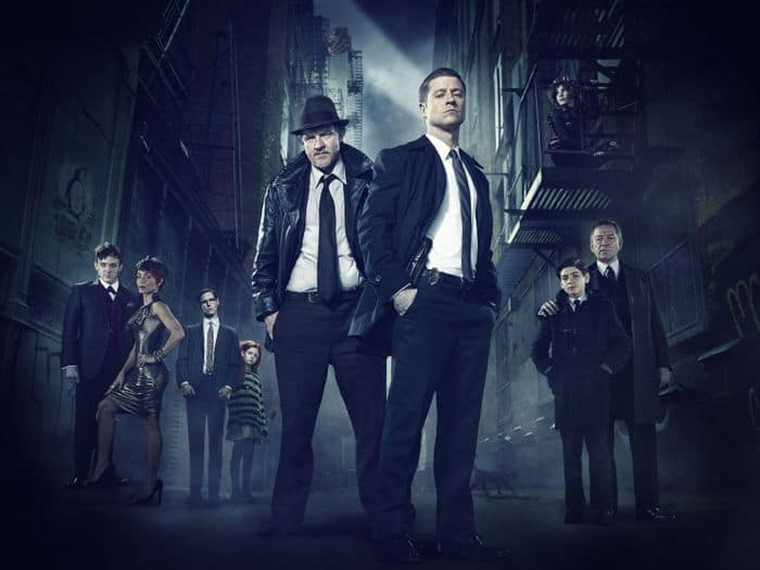 Gotham Cast FOX TV Show Robin Lord Taylor, Jada Pinkett Smith, guest star Cory Michael Smith, guest star Clare Foley, Donal Logue, Ben McKenzie, Camren Bicondova, David Mazouz and Sean Pertwee