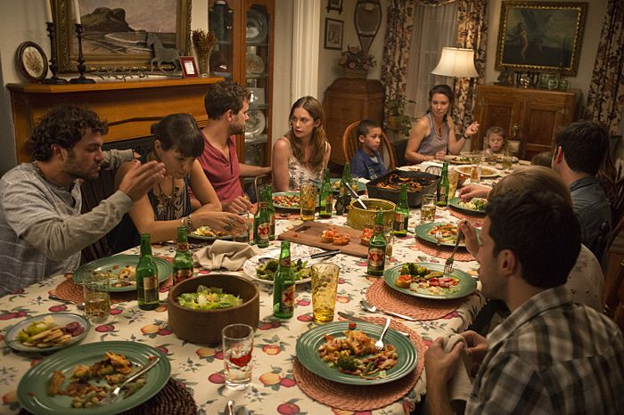 Danny Fischer as Hal, Kaija Matis as Mary-Kate, Joshua Jackson as Cole and Ruth Wilson as Alison in The Affair (season 1, episode 1)