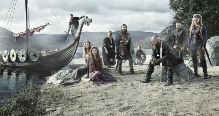 From left to right_ Floki (Gustaf Skarsgård) Queen Aslaug (Alyssa Sutherland), Siggy (Jessalyn Gilsig), King Ecbert (Linus Roache), Rollo (Clive Standen), Athelstan (George Blagden), King Ragnar (Travis Fimmel)