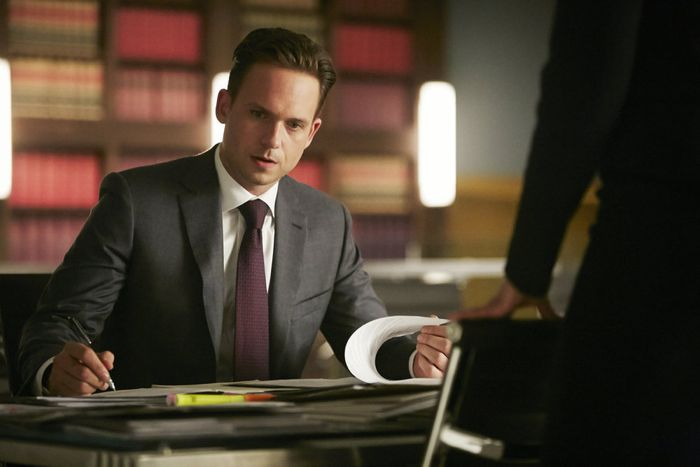 "SUITS -- ""Compensation"" Episode 502 -- Pictured: Patrick J. Adams as Michael Ross -- (Photo by: Ian Watson/USA Network)"