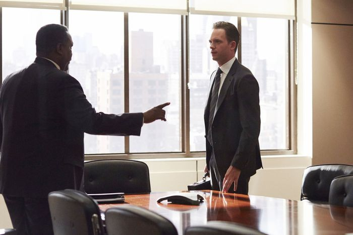 """SUITS -- """"No Puedo Hacerlo"""" Episode 504 -- Pictured: (l-r) Wendell Pierce as Robert Zane, Patrick J. Adams as Michael Ross -- (Photo by: Shane Mahood/USA Network)"""