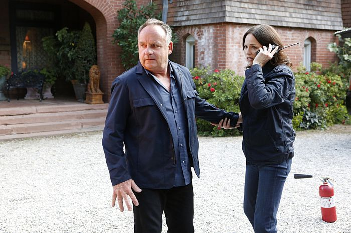 """""""Immortality Parts I and II"""" -- Grissom and Willows return to help the CSI team solve a catastrophic case that paralyzes all of Las Vegas, on the special two-hour series finale of CSI: CRIME SCENE INVESTIGATION, Sunday, Sept. 27 (9:00-11:00 PM, ET/PT), on the CBS Television Network.  Past and current series stars scheduled to appear include William Petersen, Marg Helgenberger, Ted Danson, Jorja Fox, Eric Szmanda, Robert David Hall, Paul Guilfoyle, Wallace Langham, David Berman, Elisabeth Harnois and Jon Wellner.  Also, Melinda Clarke returns as Lady Heather. Pictured: Paul Guilfoyle and Jorja Fox  Photo: Sonja Flemming/CBS ©2015 CBS Broadcasting, Inc. All Rights Reserved"""