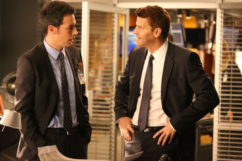 """BONES: L-R: John Boyd and David Boreanaz in the """"The Donor in the Drink"""" episode of BONES airing Thursday, Oct. 15 (8:00-9:00 PM ET/PT) on FOX. ©2015 Fox Broadcasting Co. Cr: Patrick McElhenney/FOX"""
