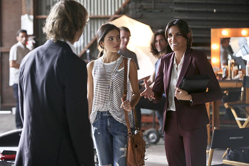 """""""Driving Miss Diaz"""" -- Pictured: Eric Christian Olsen (LAPD Liaison Marty Deeks), Arienne Mandi (Catalina Diaz) and Daniela Ruah (Special Agent Kensi Blye). The NCIS Los Angeles team investigates a 20-year old Peruvian massacre after a well-known fashion model, believed to be one of the survivors, is now a potential target. Also, Kensi goes undercover as the model's assistant and Deeks as her chauffeur, on NCIS: LOS ANGELES, Monday, Oct. 5 (10:00-11:00 PM, ET/PT), on the CBS Television Network. Photo: Monty Brinton/CBS ©2015 CBS Broadcasting, Inc. All Rights Reserved."""