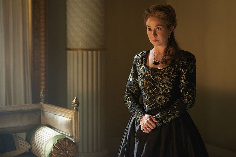 """Reign -- """"Three Queens, Two Tigers"""" -- Image Number: RE301b_0155.jpg -- Pictured: Megan Follows as Catherine de Medici -- Photo: Sven Frenzel/The CW -- © 2015 The CW Network, LLC. All rights reserved."""
