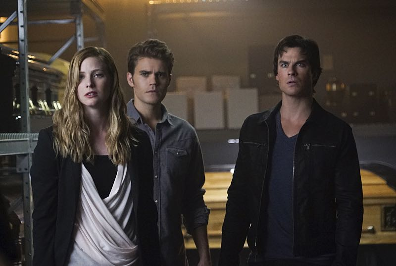 """The Vampire Diaries -- """"Live Through This"""" -- Image Number: VD705c_0103.jpg -- Pictured (L-R): Elizabeth Blackmore as Valerie, Paul Wesley as Stefan and Ian Somerhalder as Damon -- Photo: Annette Brown/The CW -- © 2015 The CW Network, LLC. All rights reserved."""