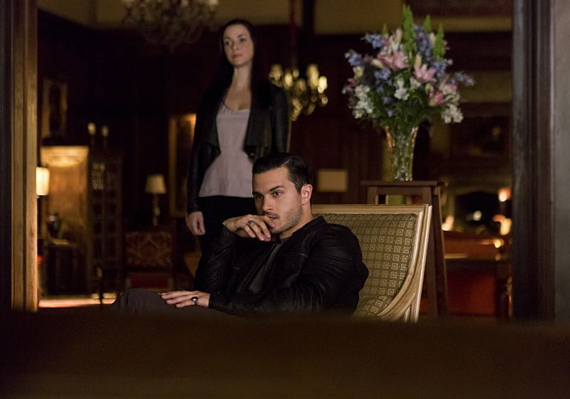 """The Vampire Diaries -- """"Live Through This"""" -- Image Number: VD705a_0126.jpg -- Pictured (L-R): Annie Wersching as Lily and Michael Malarkey as Enzo -- Photo: Eli Joshua Adé/The CW -- © 2015 The CW Network, LLC. All rights reserved."""