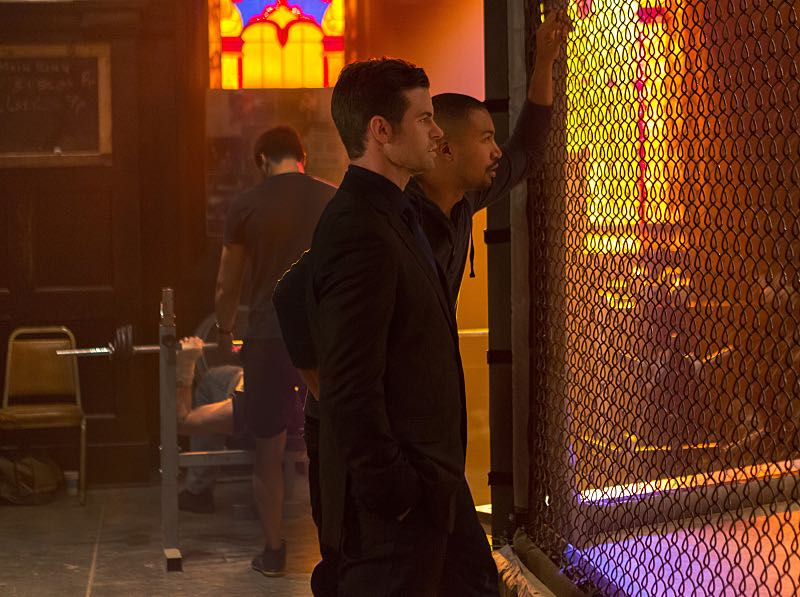 """The Originals -- """"The Axeman's Letter"""" -- Image Number: OG305a_0148.jpg -- Pictured (L-R): Daniel Gillies as Elijah and Charles Michael Davis as Marcel -- Photo: Eli Joshua Adé/The CW -- © 2015 The CW Network, LLC. All rights reserved."""