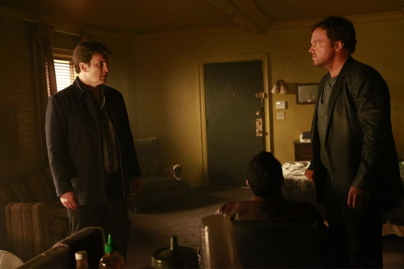 """CASTLE - """"Cool Boys"""" - Detective Slaughter (guest star Adam Baldwin) returns to enlist Castle's help in solving a high-stakes robbery case. But when a body is found linked to the crime, Slaughter becomes the number one suspect in the heist turned murder, while Castle has to determine whether he's guilty or help to prove he's innocent. """"Cool Boys"""" will air on MONDAY, NOVEMBER 9 (10:01-11:00 p.m. ET/PT) on the ABC Television Network. (ABC/Mitch Haaseth) NATHAN FILLION, ADAM BALDWIN"""