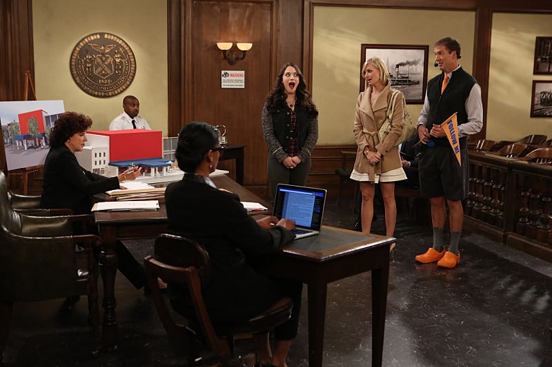 """""""And the Wrecking Ball"""" -- Max and Caroline team up with the diner staff in a frantic attempt to keep their businesses open when the city targets Han's diner and their cupcake window for destruction. Also, Sophie and Oleg announce that they are trying to have a baby, on the fifth season premiere of 2 BROKE GIRLS, Thursday, November 12 (9:30-10:00 PM, ET/PT) on the CBS Television Network. From left, Max Black (Kat Dennings), Caroline Channing (Beth Behrs) and Dannon (Regan Burns), shown. Photo: Monty Brinton/CBS ©2015 CBS Broadcasting, Inc. All Rights Reserved"""