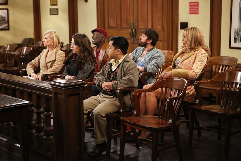"""""""And the Wrecking Ball"""" -- Max and Caroline team up with the diner staff in a frantic attempt to keep their businesses open when the city targets Han's diner and their cupcake window for destruction. Also, Sophie and Oleg announce that they are trying to have a baby, on the fifth season premiere of 2 BROKE GIRLS, Thursday, November 12 (9:30-10:00 PM, ET/PT) on the CBS Television Network. From left, Caroline Channing (Beth Behrs), Max Black (Kat Dennings), Earl (Garrett Morris), Han Lee (Matthew Moy), Oleg (Jonathan Kite) and Sophie (Jennifer Coolidge), shown. Photo: Monty Brinton/CBS ©2015 CBS Broadcasting, Inc. All Rights Reserved"""