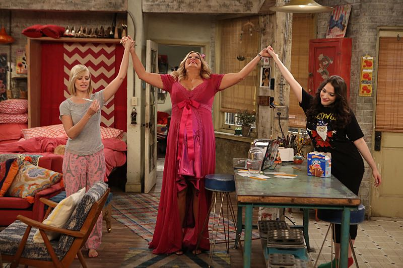 """""""And the Wrecking Ball"""" -- Max and Caroline team up with the diner staff in a frantic attempt to keep their businesses open when the city targets Han's diner and their cupcake window for destruction. Also, Sophie and Oleg announce that they are trying to have a baby, on the fifth season premiere of 2 BROKE GIRLS, Thursday, November 12 (9:30-10:00 PM, ET/PT) on the CBS Television Network. From left, Caroline Channing (Beth Behrs), Sophie (Jennifer Coolidge) and Max Black (Kat Dennings),shown. Photo: Monty Brinton/CBS ©2015 CBS Broadcasting, Inc. All Rights Reserved"""