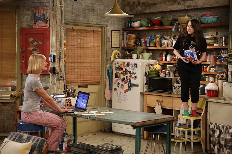 """""""And the Wrecking Ball"""" -- Max and Caroline team up with the diner staff in a frantic attempt to keep their businesses open when the city targets Han's diner and their cupcake window for destruction. Also, Sophie and Oleg announce that they are trying to have a baby, on the fifth season premiere of 2 BROKE GIRLS, Thursday, November 12 (9:30-10:00 PM, ET/PT) on the CBS Television Network. From left, Caroline Channing (Beth Behrs) and Max Black (Kat Dennings), shown. Photo: Monty Brinton/CBS ©2015 CBS Broadcasting, Inc. All Rights Reserved"""