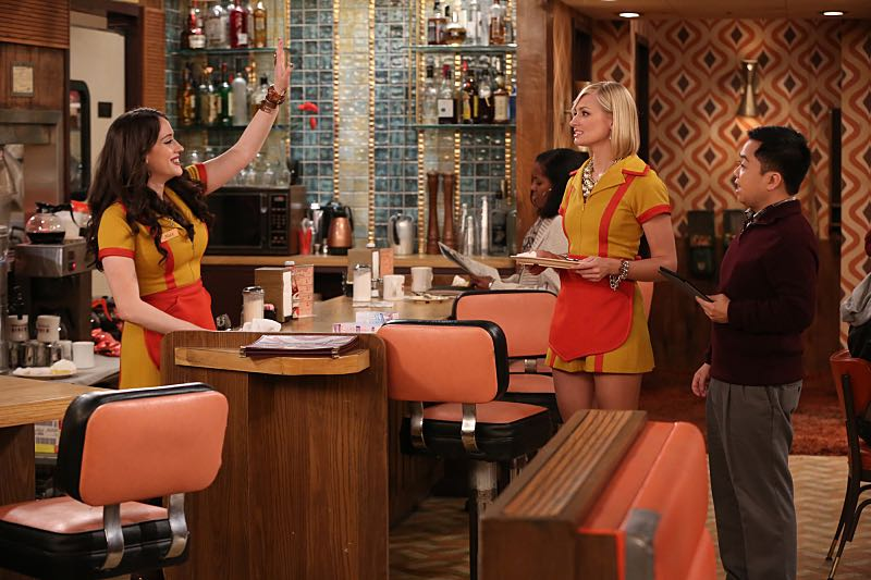 """""""And the Wrecking Ball"""" -- Max and Caroline team up with the diner staff in a frantic attempt to keep their businesses open when the city targets Han's diner and their cupcake window for destruction. Also, Sophie and Oleg announce that they are trying to have a baby, on the fifth season premiere of 2 BROKE GIRLS, Thursday, November 12 (9:30-10:00 PM, ET/PT) on the CBS Television Network. From left, Max Black (Kat Dennings), Caroline Channing (Beth Behrs) and Han Lee (Matthew Moy), shown. Photo: Monty Brinton/CBS ©2015 CBS Broadcasting, Inc. All Rights Reserved"""