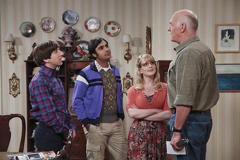 """""""The Spock Resonance"""" -- Wolowitz and Bernadette butt heads over remodeling his childhood home, on THE BIG BANG THEORY, Thursday, Nov. 5 (8:00-8:31 PM, ET/PT), on the CBS Television Network. Pictured left to right: Simon Helberg, Kunal Nayyar, Melissa Rauch and Casey Sander Photo: Michael Yarish/Warner Bros. Entertainment Inc. © 2015 WBEI. All rights reserved."""
