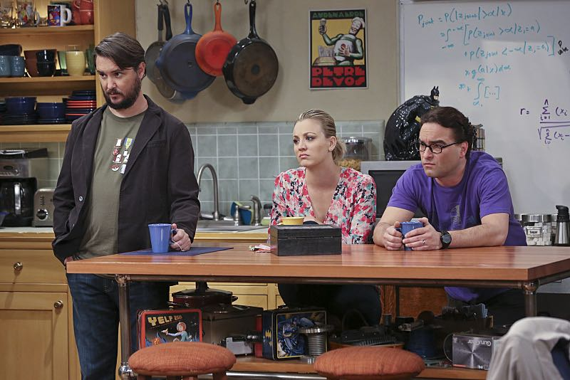 """""""The Spock Resonance"""" -- Leonard (Johnny Galecki, right) and Penny (Kaley Cuoco, center) are shocked to learn that Sheldon had an engagement ring for Amy, on THE BIG BANG THEORY, Thursday, Nov. 5 (8:00-8:31 PM, ET/PT), on the CBS Television Network. Also pictured: Wil Wheaton (left) Photo: Michael Yarish/Warner Bros. Entertainment Inc. © 2015 WBEI. All rights reserved."""