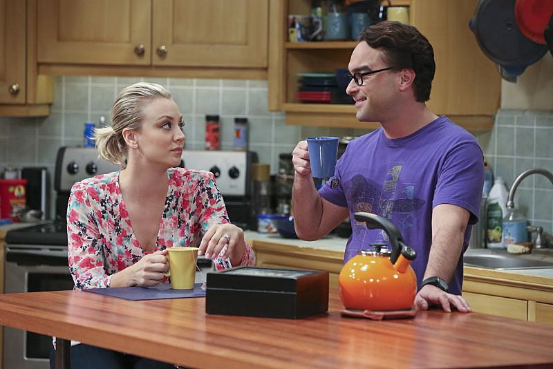 """""""The Spock Resonance"""" -- Leonard (Johnny Galecki, right) and Penny (Kaley Cuoco, left) are shocked to learn that Sheldon had an engagement ring for Amy, on THE BIG BANG THEORY, Thursday, Nov. 5 (8:00-8:31 PM, ET/PT), on the CBS Television Network. Photo: Michael Yarish/Warner Bros. Entertainment Inc. © 2015 WBEI. All rights reserved."""
