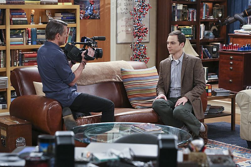 """""""The Spock Resonance"""" -- While being interviewed for a documentary about Spock from """"Star Trek,"""" Sheldon (Jim Parsons, right) struggles to suppress his emotions about his recent break-up with Amy, on THE BIG BANG THEORY, Thursday, Nov. 5 (8:00-8:31 PM, ET/PT), on the CBS Television Network. Also pictured: Adam Nimoy (left) Photo: Michael Yarish/Warner Bros. Entertainment Inc. © 2015 WBEI. All rights reserved."""