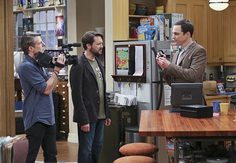 """""""The Spock Resonance"""" -- While being interviewed for a documentary about Spock from """"Star Trek,"""" Sheldon (Jim Parsons, right) struggles to suppress his emotions about his recent break-up with Amy, on THE BIG BANG THEORY, Thursday, Nov. 5 (8:00-8:31 PM, ET/PT), on the CBS Television Network. Also pictured left to right: Adam Nimoy and Wil Wheaton Photo: Michael Yarish/Warner Bros. Entertainment Inc. © 2015 WBEI. All rights reserved."""