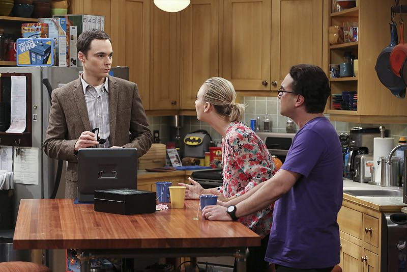 """""""The Spock Resonance"""" -- Leonard (Johnny Galecki, right) and Penny (Kaley Cuoco, center) are shocked to learn that Sheldon (Jim Parsons, left) had an engagement ring for Amy, on THE BIG BANG THEORY, Thursday, Nov. 5 (8:00-8:31 PM, ET/PT), on the CBS Television Network. Photo: Michael Yarish/Warner Bros. Entertainment Inc. © 2015 WBEI. All rights reserved."""